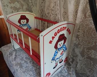 Rare Vintage Bobbs Merrill Co. INC. Raggedy Ann, Crib-Bed