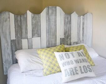 Pallet headboard, wood headboard, reclaimed headboard, grey/white headboard, headboard, bedroom decor