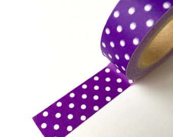 50% OFF CLEARANCE SALE !!! Washi Tape - Purple Polka Dots - Masking Tape - 1.5cm x 10yd (9.1m) (was 3.00)
