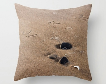 Beach Pillow Cover ~ Casual Pillow ~ Seagull Throw Pillow ~ Sandy Beach Photo Pillow ~ Minimalist Decor ~ Brown Pillow ~ Decorative Pillow