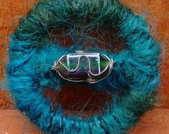 Blue and green wool brooch