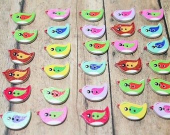 Buttons-Colorful Wooden Bird Button-Set of 45 buttons-Bird buttons-Little Birds-chick buttons-Wood buttons