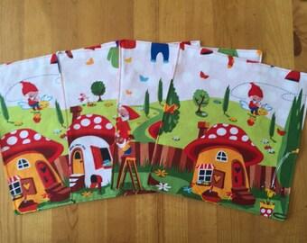 Gnome napkins, woodland napkins, forest napkins, napkins, cloth napkins, waldorf inspired, kids gift, red napkins, polka dot napkins