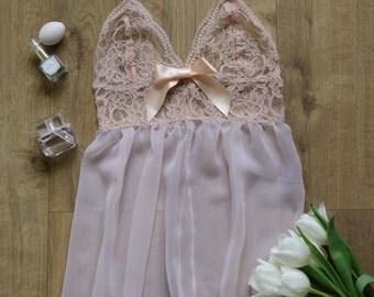 Pink lace babydoll, Lingerie, Underwear
