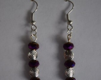 Purple and silver metal earring