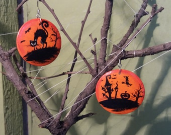 Earrings Halloween . Medical steel. Gift for her. Painting Wood Jewelry. Painting jewelry