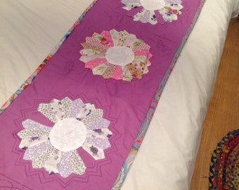 Double size bed throw in a Dresden plate design patch worked and quilted