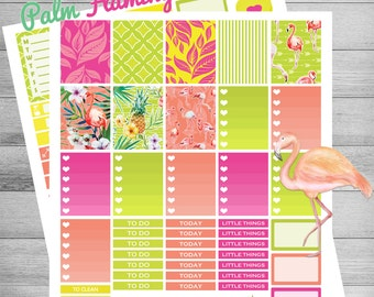 Flamingo Printable Planner stickers, Printable Pineapple stickers, Printable weekly kit, use with Erin condren, tropical stickers, Palm leaf