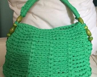 Crochet bag, shoulder bag, green, mod. Ischia