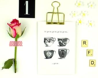 Tea Cup Print Blank Card, Father Ted, Mrs Doyle, Irish Humour, Tea Lover Greeting Card
