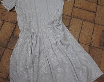 Vintage Dress - Dove Grey Dropped Waist
