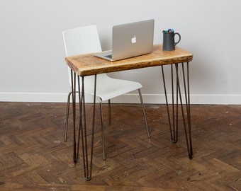 Nattura Handmade Industrial Chic Reclaimed Wood Hairpin Led Desk. Custom Made to Order.