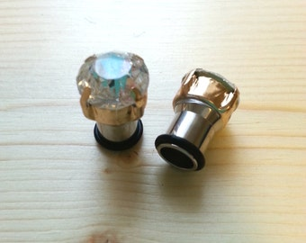 Crystal with gold Stainless Steal Gauge Plugs size 0 (8mm)