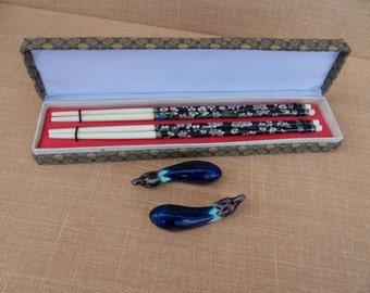Vintage Cloisonne Flower Chopsticks ORIGINAL Box and Japan Porcelain Chopstick Rest Hashioki Eggplant Nasubi