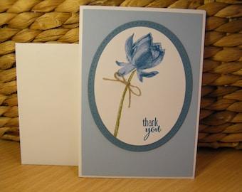 Thank You Card Blue Lotus Flower
