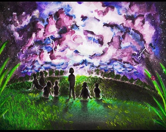 AN ELECTRIFYING NIGHT (Original Artwork) Signed Art Print of a Vibrant Stormy Night