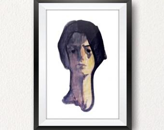 Watercolor Portrait, Modern Home Decor, Printable Wall Art, Instant Download, Aquarelle Painting, Woman Head, Contemporary Digital Print