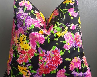 Black Floral Multicolored Chic Decorative Pillow Cover Only