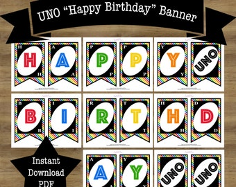 UNO Birthday Banner; UNO Birthday Party; UNO Party; First Birthday Banner Printable; Printable Birthday Banner