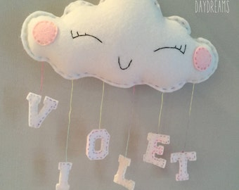 Personalised Daydreaming Cloud Pink / Cloud Mobile Nursery Decoration
