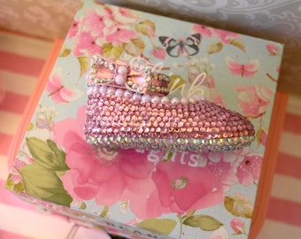 Pink Rhinestone Baby Shoes Ankle Strap