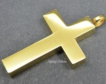 Cremation Urn Pendant - Keepsake Charm Necklace - 24k Gold Plated Block Cross - Crucifix Holds Ashes Fur Sand-Engraving/Personalised/Bespoke