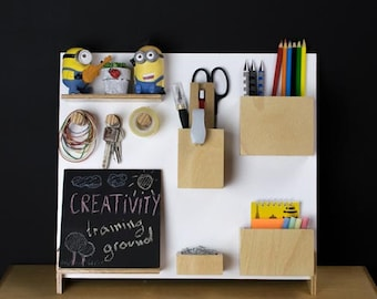 Desk organizer v1.1. Handcrafted with with detachable blackboard