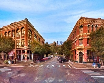 Port Townsend street scene, Historical Victorian Buildings, Washington, James and Hastings Building, Bell Tower, Available on Canvas
