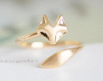 adjustable gold ring , gold fox ring, fox ring earrings