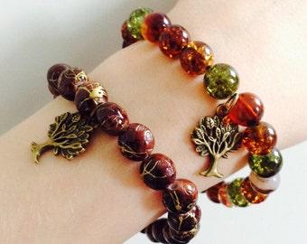 Beaded tree bracelet