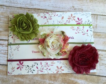 Headband Set of 3/Baby Headband Set/Baby Shower Gift/Fall Headband/Autumn Headband/Infant Headband/Toddler/Newborn Headband/Shabby Flower