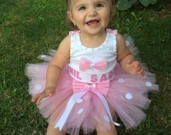 Baby Girl Birthday Tutu Pink Bow Set