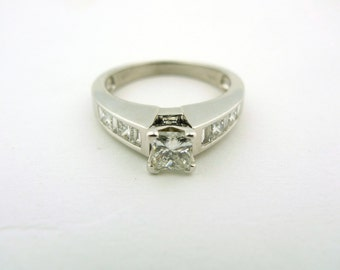 14K White Gold 1.5cttw Princess and Baguette Cut Diamond Ring