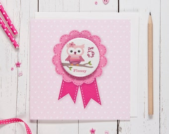 Personalised Girl's Age Badge Card - owl
