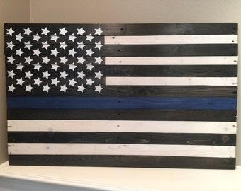 Handmade wood Thin Blue Line American Flag, pallet wood, wooden, reclaimed wood