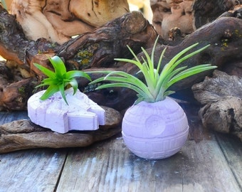 Star Wars Inspired Planters, Purple Death Star & Millennium Falcon Air Plant Holder, Star Wars Decor, Party Favors, Gift Ideas, Desk Decor!