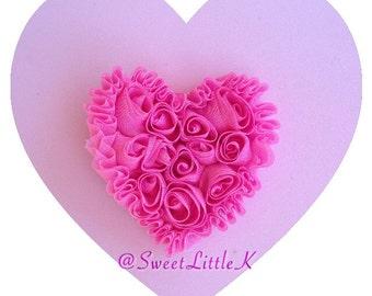 Pink Rosette Heart Clip