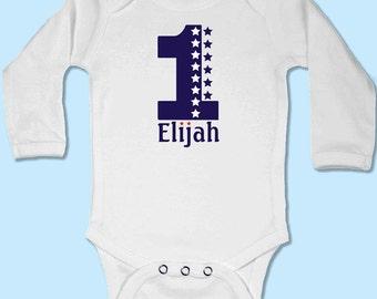 Baby Body Suit - First Birthday Stars // First Birthday Baby Gift // Babygrow