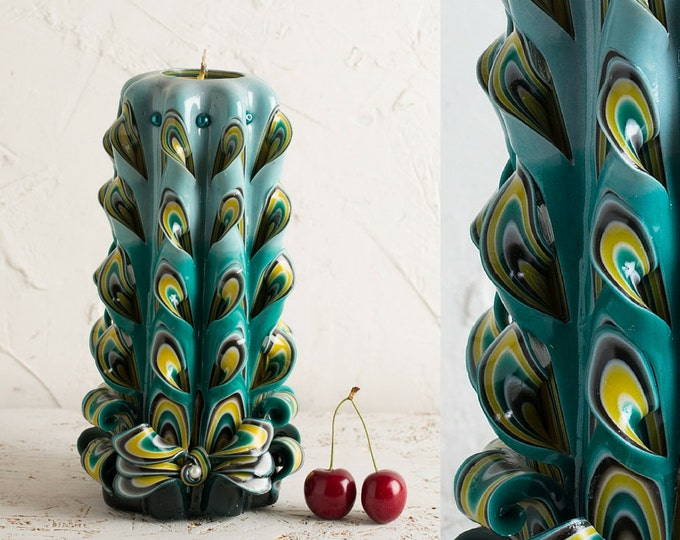 Big Peacock Tail candle, Carved candles, Unusual gift, Gift ideas, Wall decor, Gift baskets, Nature candle, Housewarming gift, Love, OOAK
