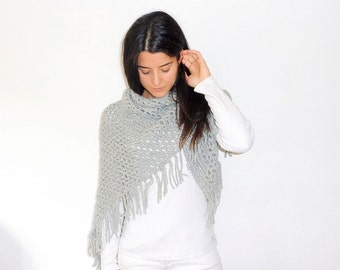Crochet fringed shawl