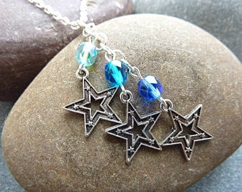 Stars Charm Necklace.  Star Necklace with 3 Star Charms and 3 Blue Crystals.  Star Charm Jewellery Pendant Necklace on an 18 inch Chain.