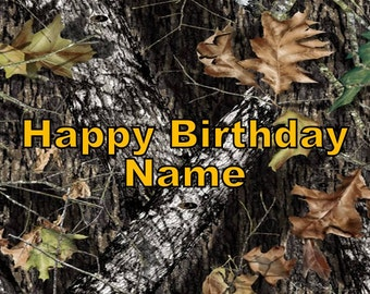 Mossy Oak Camo Edible Image Cake Topper Personalized Birthday 1/4 Sheet
