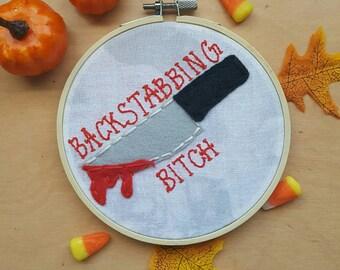 "Backstabber 5"" Embroidery Hoop Art"