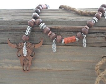 Bull skull necklace, wooden beaded necklace, Native American style necklace, boho necklace, bohemian jewelry, ethnic jewelry, tribal jewelry