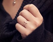 Rose Gold Filled White Sapphire Womens Cross Promise/Fashion Ring Size 6