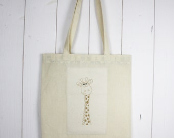 "Tote bag ""the giraffe"" Métis unbleached canvas and cotton canvas"