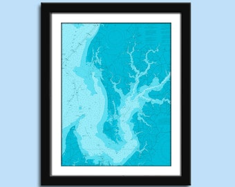 Chester River MD - Chesapeake Bay - Nautical Chart Decor