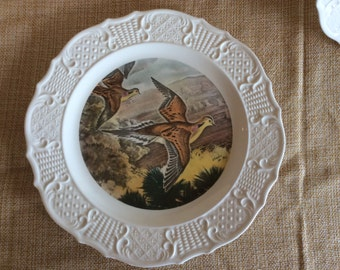 Vintage Mourning doves by Charles De Feo decorative display plate especially painted for Seagram House