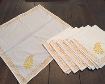 Set of 6 Block Printed cotton napkins