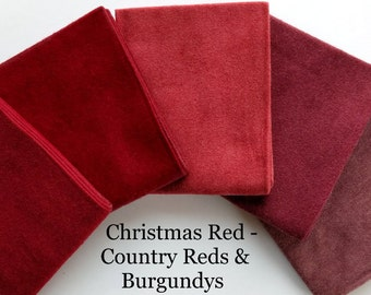 Reds & Burgundys FLANNEL Fat Quarter Bundle Moda Fabric + BONUS  2 Quilt Patterns